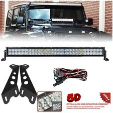 "5D 22"" 200W LED Light Bar+ Hood Mount Brackets For 2007-16 Jeep Wrangler JK/JKU"