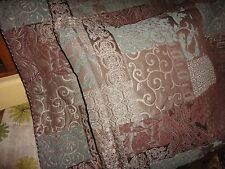 CROSCILL GALLERIA PATCHWORK BROWN BLUE TUSCAN (PAIR) KING PILLOW SHAMS 21 X 37