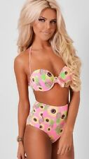 Boutique pink sunflower/pineapple bikini high waist summer size 16 flattering