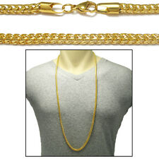 """316L Stainless Steel Gold Men's 36"""" 4mm Rounded Square Curb Cuban Chain Necklace"""