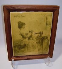 Trivet Victorian Seamstress Singer Sewing Machine Sepia Print Tile Wood