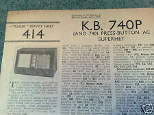 TRADER SHEET 414 * Kolster-Brandes 740P 740  -  3 band ac superhet  * July 1939