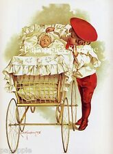 Maud Humphrey Fabric Block Baby Bassinet Boy Image printed onto Fabric