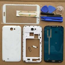 White Full Housing Case cover + Screen Glass For Samsung Galaxy Note 2 II N7100