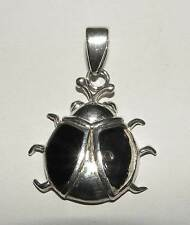 Vintage Large Dakota West Shube Sterling Enamel Beetle Bug Insect Scarab Pendant