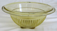 Vintage Depression GLASS Yellow/Amber RIBBED Footed Bowl