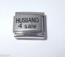 HUSBAND 4 SALE 9mm LASER ITALIAN CHARM LINK R19 HUBBY FOR LOVE FUNNY MOM CHARMS