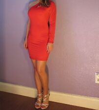 GOOD TIME One Shoulder Lipstick Red Bodycon Cutout Dress L SASSY AND SEXY