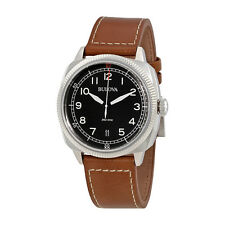 Bulova Military  Black Dial Brown Leather Mens Watch 96B230