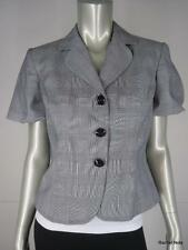 ST JOHN S 4 Luxury Plaid Cotton Short Sleeve Black White Gray Jacket EUC