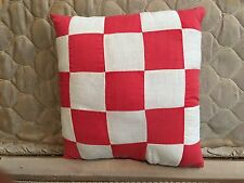 Primitive handmade OOAK vintage quilt top pillow~Christmas,all holidays, red