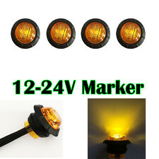 "4X 3/4"" Round Side Marker LED Clearance Truck Trailer Boat BUS SUV Light Amber"