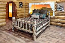 Amish LOG Beds King Size Handcrafted Solid Pine Bed  Cabin Lodge