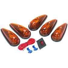 5 Piece Amber Teardrop 12V Cab Truck Van RV Auto Roadside Security Light Kit