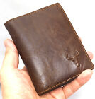 Men's Genuine Leather Wallet 10 Regular Credit Card Slots 1 ID Window Purse-3832