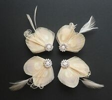 Set of 4 Bridesmaids Hair Clips 'Lisette' Nude Cream PEACOCK Feather Fascinators