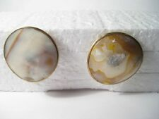 Vintage 1970/1980s Round Mother-of-Pearl Shell Pierced Earrings,goldtone
