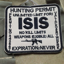 HUNTING PERMIT UNLIMITED LIMIT FOR ISIS MORALE TACTICAL HOOK & LOOP VELCRO PATCH