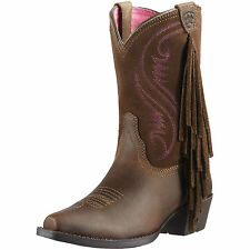 ARIAT YOUTH GIRLS FANCY FRINGE SNIP TOE COWGIRL COWBOY WESTERN BOOTS!10011908