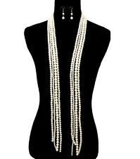 BIG FAUX WHITE PEARL MULTI-LINE LAYERED Statement Necklace & Earrings SET