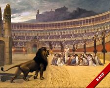 CHRISTIAN MARTYRS IN ROMAN COLOSSEUM W LIONS PAINTING ROME ART REAL CANVAS PRINT
