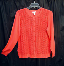 CORAL EMBROIDERED LACE BUTTON FRONT CARDIGAN JACKET SWEATER TOP~1X~2X