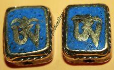Tibetan Nepalese Handmade Coral Lapis 2 beads Nepal beads Tibetan beads B535