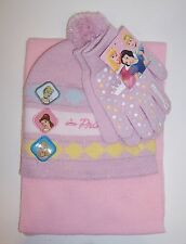 DISNEY PRINCESS KNIT HAT Beanie GLOVES Glove SCARF SET Cinderella Belle Aurora