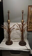 """Pair Frederick Cooper Golden Wheat Lamps Brass 33"""" With Harps No shades"""