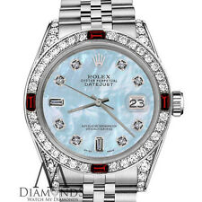 Ladies Rolex 26mm Datejust Baby Blue MOP Dial with8+2 Ruby & Diamond Bezel Watch