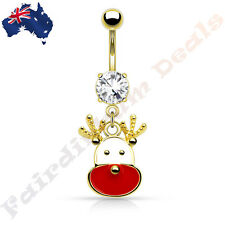 Jewelled Gold Ion Plated Belly Ring with Reindeer Christmas Dangle