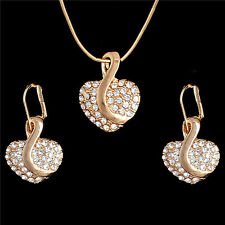 Wedding 18k Gold Filled shiny Austrian crystal jewelry sets necklace/earrings