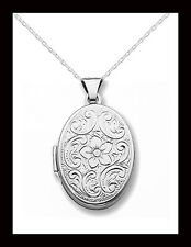 "Sterling Silver Oval Floral Locket w/18"" Chain - Gift Boxed - Free Shipping"