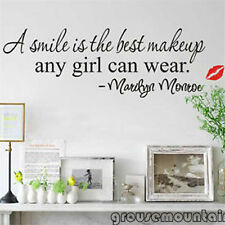 Best Popular A Smile Is The Best Makeup Any Girl Can Wear Wall Sticker Mural GRO