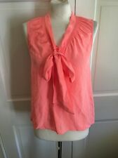 Lilly Pulitzer Neon Orange 100% Silk Tie Front Blouse Size XS S EUC