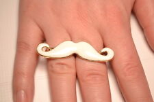 White Enamel Double Finger Moustash Ring Adjustable. FREE P&P