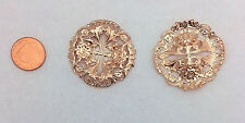 BEAUTIFUL ROSE GOLD PLATED BRASS FLORAL FILIGREE - 1 PC