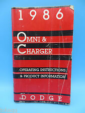 1986 Dodge Omni & Charger Owner's Manual OEM