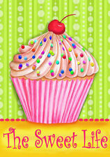 Sweet Life Cupcake Garden Flag Decorative Cherry Dessert Printed in the USA