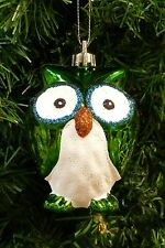 SHATTERPROOF GREEN OWL CHRISTMAS TREE ORNAMENT w/GOLD & BLUE GLITTER DETAILING