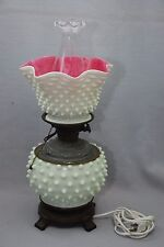 Unusual Cased Pink & Milk White Glass Fenton Hobnail Converted Electric Oil Lamp