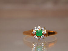 .35 Natural Colombian Green Emerald Diamond Halo Ring 18k Yellow Gold  Estate