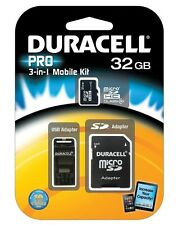 DURACELL MicroSDHC 32GB Memory Card UHS-1 Class 10 w/ USB & SD Adapter MicroSD