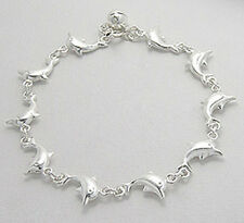 "7"" NEW Solid Sterling Silver Dolphin Link Bracelet 19g"