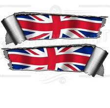 Pair Rolled Back Ripped torn Metal Effect Union Jack Flag  Vinyl Car Stickers