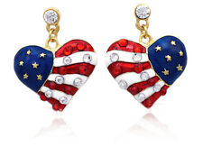 4th of July USA American Flag Patriotic Dangling Heart Post Stud Earrings e78g