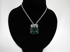 Emerald Green Silver Square Crystal Elvish Medieval Victorian Pendant Necklace