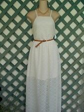 AUW CREAM CROCHET LACE MAXI PEASANT DRESS MJ NEW WEDDING PARTY BOHO HIPPIE