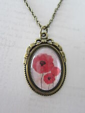 Bronze Red Trio of Poppies Poppy Glass Domed Pendant Necklace New in Gift Bag
