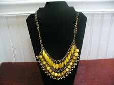"Vintage Brass Faceted Round Oval Yellow Glass Bead 21.5"" Statement Bib Necklace"